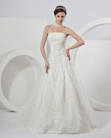 Plisserad Halterneck Domstol A-line Brudklänningar Bröllopsklänningar