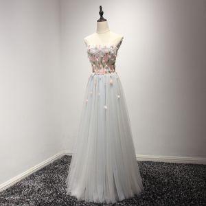 Chic / Beautiful Sky Blue Evening Dresses  2017 A-Line / Princess Floor-Length / Long Cascading Ruffles Strapless Sleeveless Backless Rhinestone Beading Crystal Appliques Flower Formal Dresses
