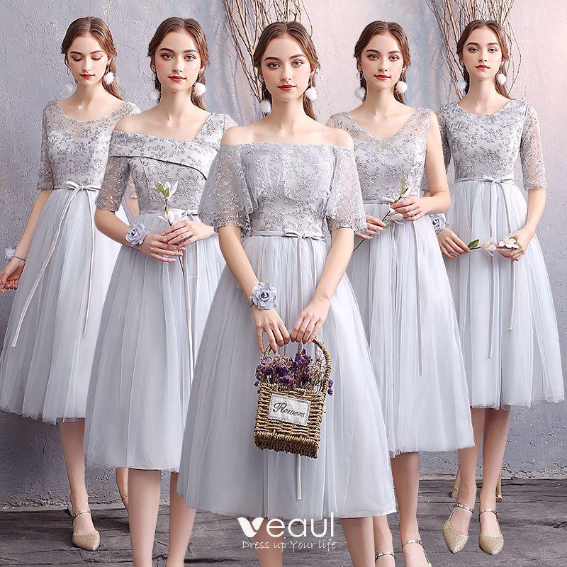 Affordable Grey Bridesmaid Dresses 2019 A Line Princess Appliques Lace Sash Short Ruffle Backless Wedding Party Dresses