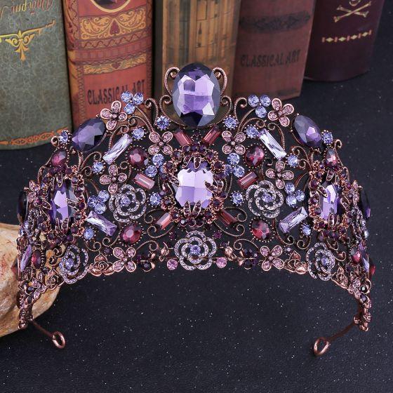 Stunning Purple Rhinestone Tiara 2020 Alloy Accessories