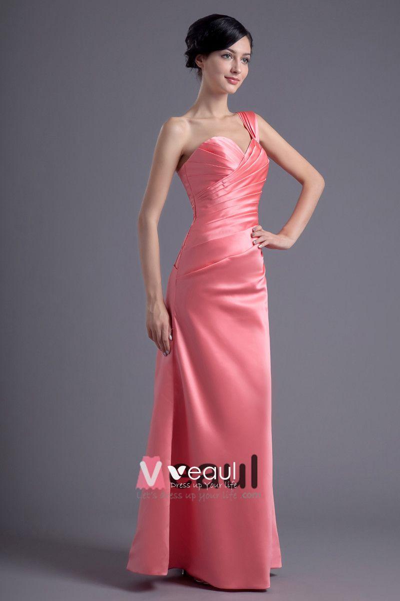 Fashion Satin Pleated One Shoulder Floor Length Bridesmaid Dress