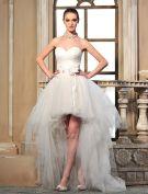 2015 A-linie Sweetheart Perlen Handgemachte Blume Asymmetrischen Tüll Brautkleid Kurz