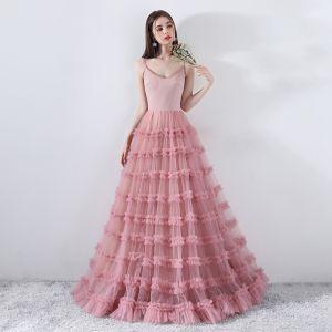 Simple Rougissant Rose Robe De Ceremonie 2018 Princesse Bretelles Spaghetti Dos Nu Sans Manches Longue Robe De Bal