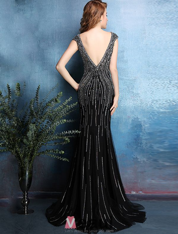 2016 Sexy Sparkly Mermaid Backless Beading Rhinestone Crystal Black Evening Dress