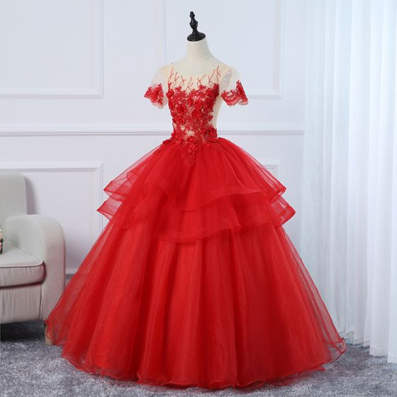 Elegant Red Prom Dresses 2020 Ball Gown Scoop Neck Beading Rhinestone Appliques Lace Flower Short Sleeve Backless Floor-Length / Long Prom Formal Dresses