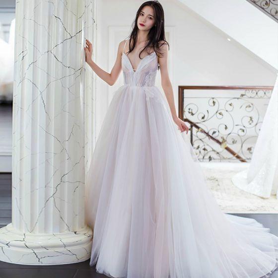 Elegantes Multi-Colors Vestidos de noche 2018 A-Line / Princess Apliques Spaghetti Straps Sin Espalda Sin Mangas Colas De La Corte Vestidos Formales