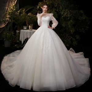 Victorian Style Champagne Bridal Wedding Dresses 2020 Ball Gown See-through Scoop Neck Puffy Long Sleeve Backless Appliques Sequins Cathedral Train Ruffle