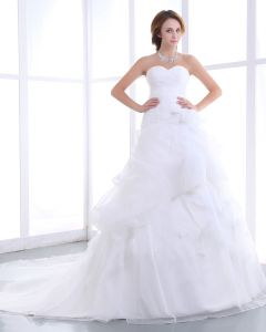 Elegante Sirena Sin Tirantes De Organza De Raso Línea A De Vestido De Novia