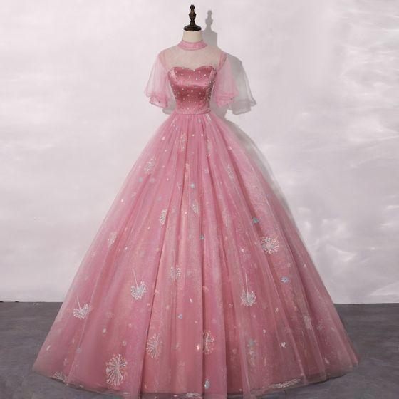 Vintage / Originale Rose Bonbon Robe De Bal 2020 Robe Boule Transparentes Col Haut Gonflée Manches Courtes Faux Diamant Appliques En Dentelle Paillettes Longue Volants Robe De Ceremonie
