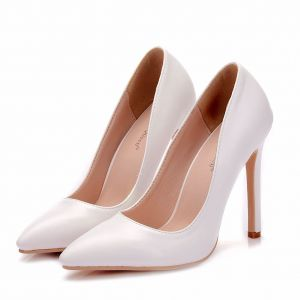 Modest / Simple White Office Pumps 2018 11 cm Stiletto Heels Pointed Toe Pumps