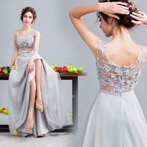 Piękne Szary Sukienki Koktajlowe 2017 Princessa Tiulowe U-Szyja Bez Pleców Frezowanie Przebili Koktajlowe Sukienki Wizytowe