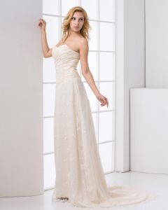 Satin Lace Ruffle Sweetheart Floor Length Court Train A Line Wedding Dress