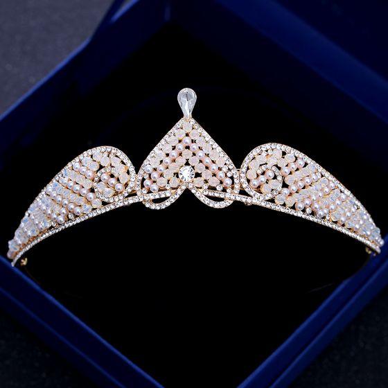 Chic / Beautiful Champagne Gold Tiara 2018 Metal Crystal Rhinestone Pearl Heart-shaped Accessories