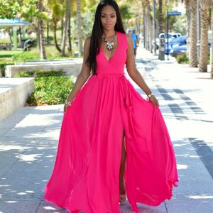 Summer Fuchsia Chiffon Maxi Dresses 2018 A-Line / Princess V-Neck Sleeveless Floor-Length / Long Ruffle Split Front Women's Clothing