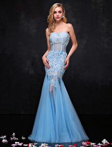 Reizvoller Schatz Himmel Blau Abendkleider Spitze Durchbohrt Meerjungfrau Ballkleid