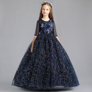 Hermoso Marino Oscuro Vestidos para niñas 2019 A-Line / Princess Scoop Escote 1/2 Ærmer Apliques Con Encaje Perla Glitter Lentejuelas Largos Ruffle Vestidos para bodas