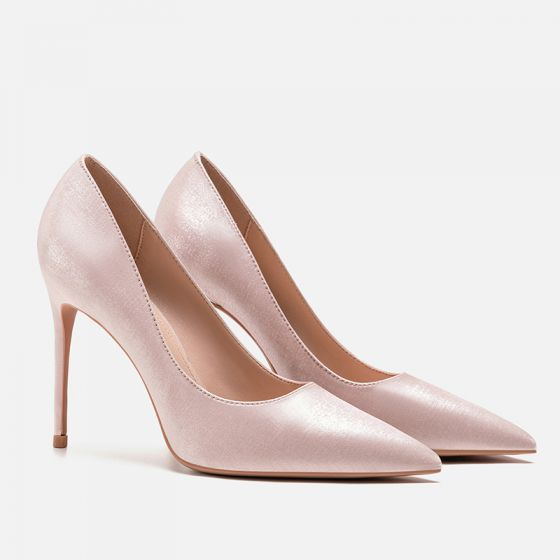 Modest / Simple Blushing Pink Office OL Silk Satin Pumps 2021 6 cm Stiletto Heels Pointed Toe Pumps