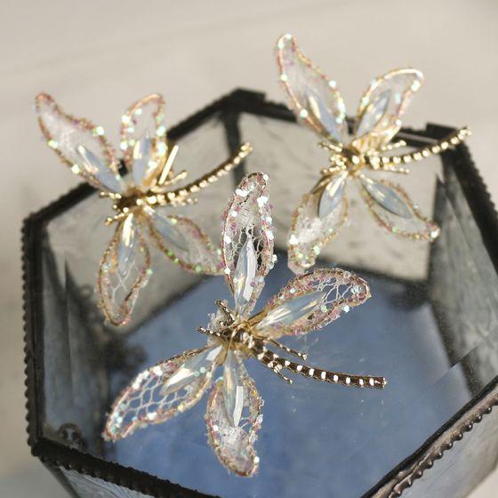 Unieke Goud Vlinder Haaraccessoires Bruids Haaraccessoires 2020 Legering Kristal Huwelijk Accessoires