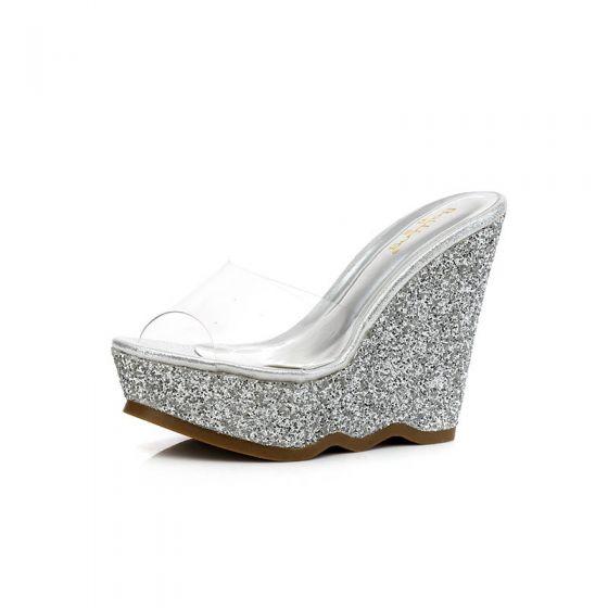 Sparkly Outdoor / Garden Womens Sandals 2017 PU Sequins Wedges High Heel Open / Peep Toe Sandals