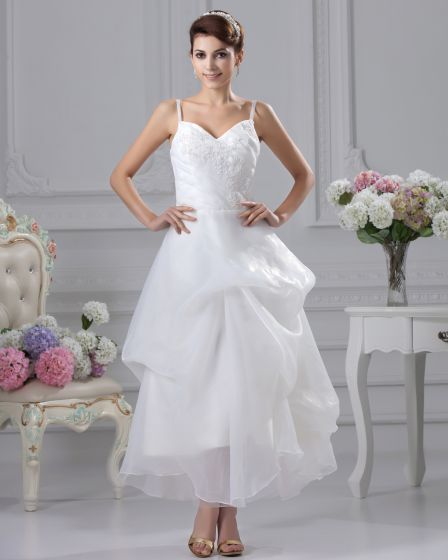 Spaghetti Straps Ruffle Beading Tea Length Yarn Mini Short Wedding Dress