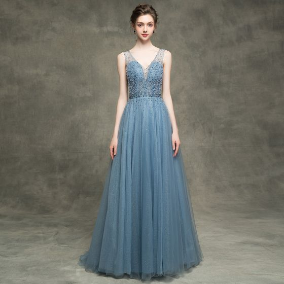 Luxury / Gorgeous Ink Blue See-through Evening Dresses  2018 A-Line / Princess V-Neck Sleeveless Beading Pearl Rhinestone Sequins Glitter Tulle Backless Sweep Train Ruffle Formal Dresses