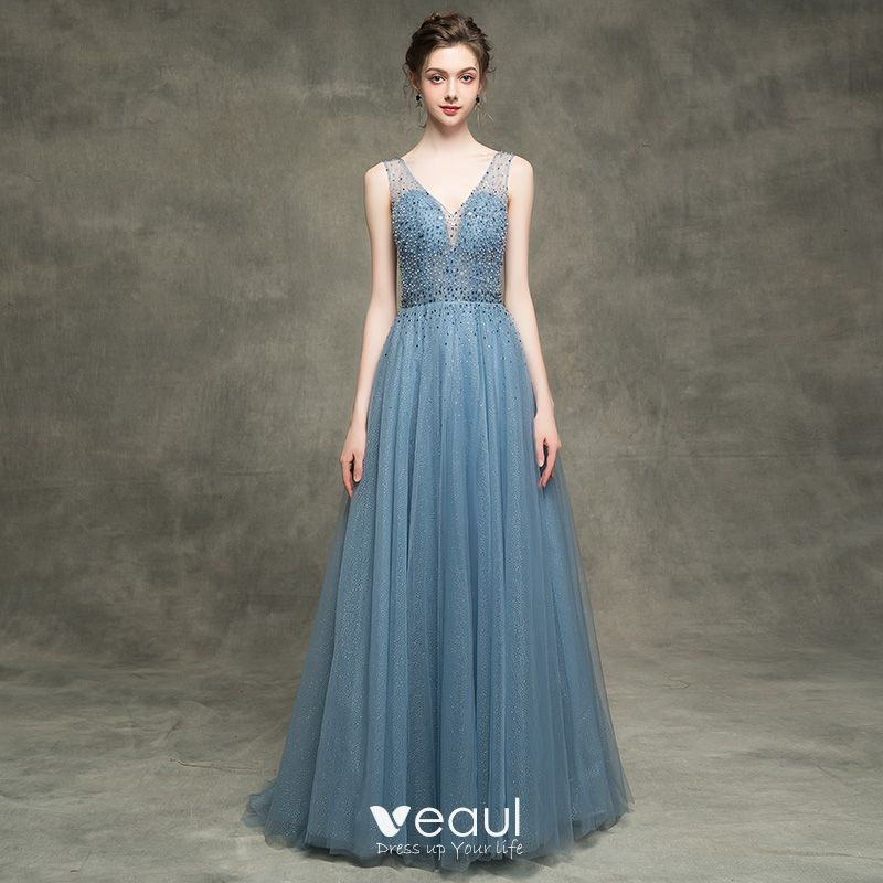 2dedd9c1c19 Luxury   Gorgeous Ink Blue See-through Evening Dresses 2018 A-Line   Princess  V-Neck Sleeveless Beading Pearl Rhinestone Sequins Glitter Tulle ...