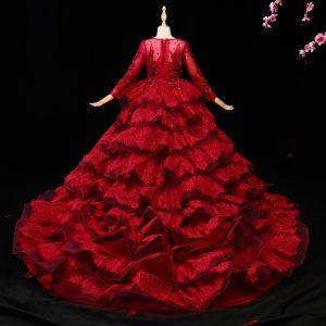 Chic / Belle Bordeaux Robe Ceremonie Fille 2017 Robe Boule En Dentelle Appliques Cristal Paillettes Encolure Dégagée 3/4 Manches Tribunal Train Robe Pour Mariage