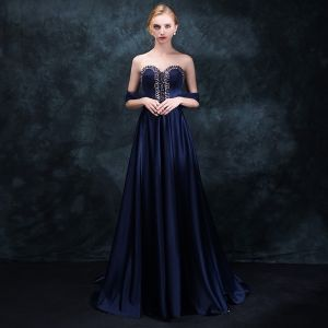 Classic Navy Blue Evening Dresses  2018 Empire Sweetheart Sleeveless Beading Rhinestone Sash Sweep Train Ruffle Backless Formal Dresses