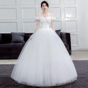 Erschwinglich Ivory / Creme Korsett Brautkleider / Hochzeitskleider 2019 Ballkleid Off Shoulder Kurze Ärmel Rückenfreies Lange Rüschen
