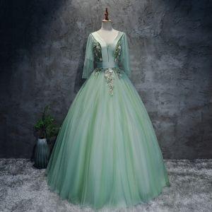 Hermoso Verde Lima Bailando Vestidos de gala 2020 Ball Gown V-Cuello 3/4 Ærmer Apliques Con Encaje Largos Ruffle Sin Espalda Vestidos Formales