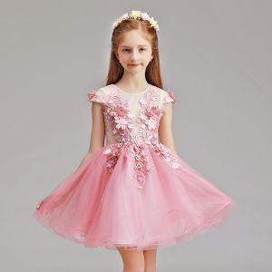 Chic / Beautiful Candy Pink Flower Girl Dresses 2019 A-Line / Princess Scoop Neck Cap Sleeves Appliques Flower Pearl Short Ruffle Wedding Party Dresses