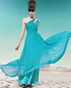 Einen Schulter Rüschen Sleeveless rückenfrei Bodenlange Charmeuse Frau Abendkleid