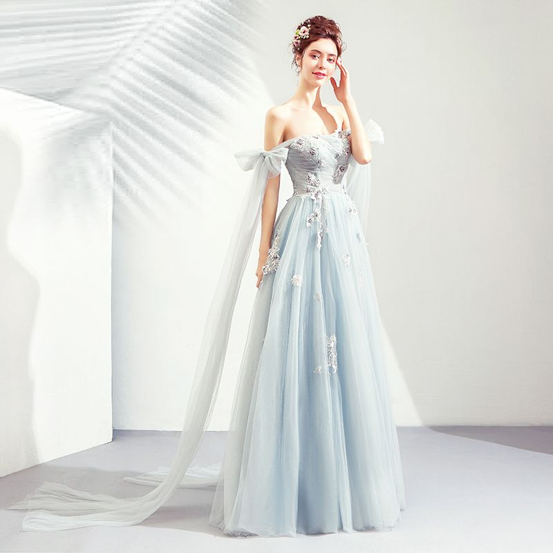 Elegant Sky Blue Prom Dresses 2019 A-Line / Princess Off-The-Shoulder Lace Flower Pearl Bow Sleeveless Backless Floor-Length / Long Formal Dresses