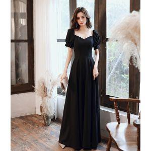 Modest / Simple Black Evening Dresses  2020 A-Line / Princess Square Neckline Short Sleeve Backless Floor-Length / Long Formal Dresses