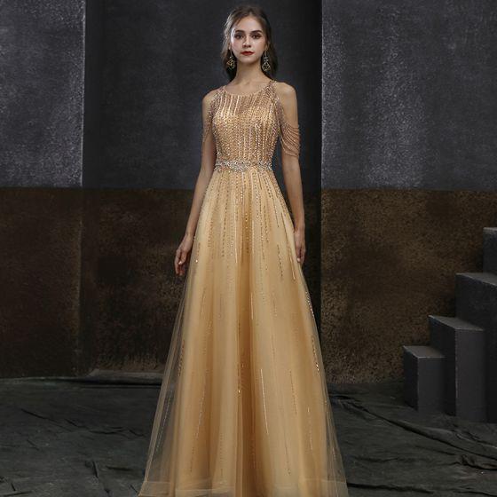 Wysokiej Klasy Złote Sukienki Wieczorowe 2020 Princessa Wycięciem Bez Rękawów Frezowanie Cekiny Trenem Sweep Wzburzyć Sukienki Wizytowe