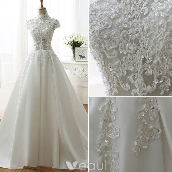 Vintage A-line Wedding Dresses 2017 High Neck Applique Lace Beading Sequins Ivory Satin Bridal Gowns