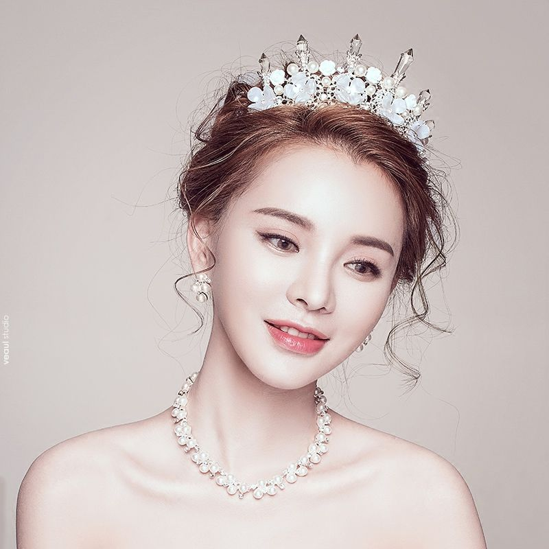 Chic / Beautiful Silver Bridal Jewelry 2017 Metal Handmade  Beading Crystal Pearl Wedding Prom Headpieces Accessories