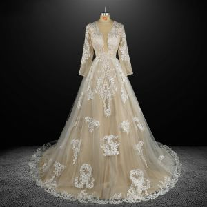 Stunning Champagne Wedding Dresses 2017 A-Line / Princess Scoop Neck Long Sleeve Pierced Appliques Lace Chapel Train