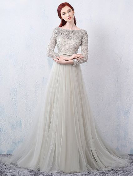 Glamorous Evening Dresses 2016 A-line Square Neckline Beading Lace Grey Tulle Backless Evening Dress