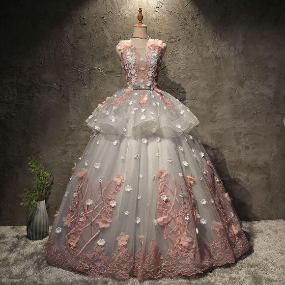 Piękne Szary Sukienki Na Bal 2017 Suknia Balowa Z Koronki Kwiat Aplikacje Kokarda Wycięciem Bez Pleców Bez Rękawów Długie Sukienki Wizytowe