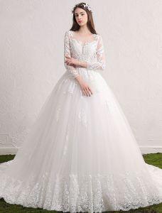 Robe De Mariée Magnifique 2017 Scoop Décolleté Applique Dentelle Robes De Mariée Sans Dos