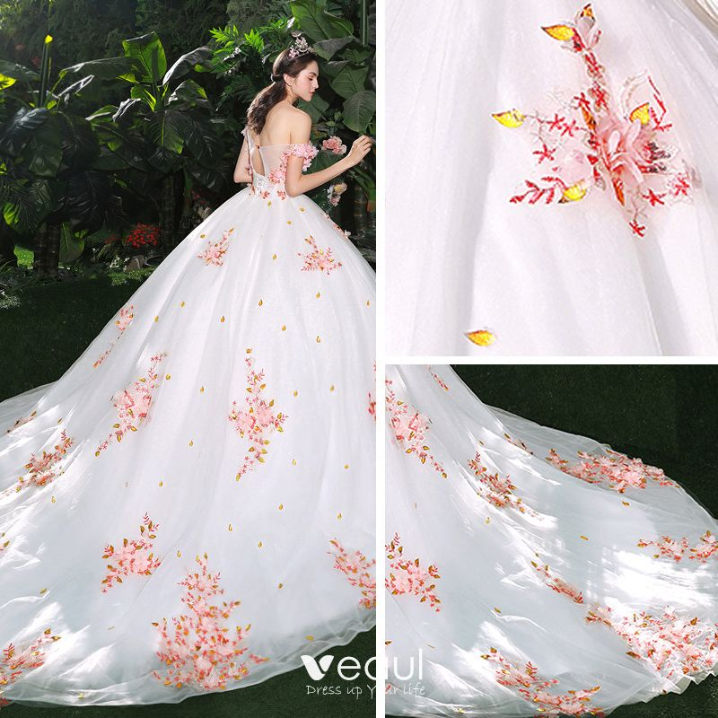 Beautiful Red And White Wedding Dress: Chic / Beautiful White Wedding Dresses 2018 Ball Gown
