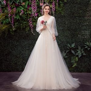Affordable Champagne Outdoor / Garden Wedding Dresses 2019 A-Line / Princess V-Neck Puffy 3/4 Sleeve Backless Appliques Lace Sweep Train Ruffle