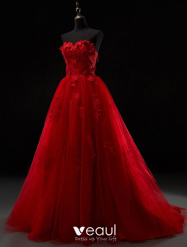 Beautiful Red And White Wedding Dress: 2016 Beautiful Strapless Sweetheart Applique Thick Lace