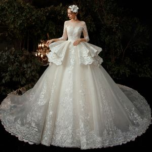 Illusion Champagne See-through Bridal Wedding Dresses 2020 Ball Gown Scoop Neck 3/4 Sleeve Appliques Lace Beading Glitter Tulle Backless Cathedral Train Ruffle