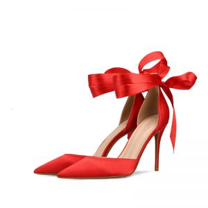 Chic / Beautiful Red Prom Womens Sandals 2020 Bow Ankle Strap 10 cm Stiletto Heels Pointed Toe Sandals