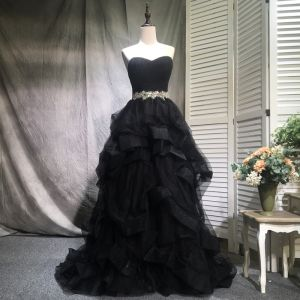 Elegant Black Prom Dresses 2018 A-Line / Princess Beading Crystal Sequins Cascading Ruffles Off-The-Shoulder Backless Sleeveless Sweep Train Formal Dresses