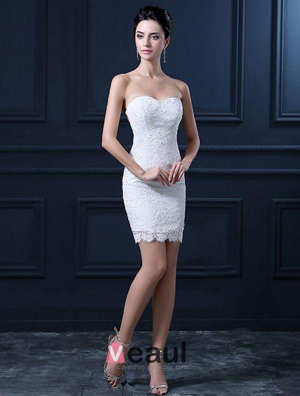 Short & Mini Sweetheart Sleeveless Detachable Tail Wedding Dress