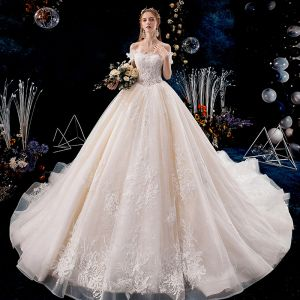 Classy Champagne Wedding Dresses 2019 A-Line / Princess Off-The-Shoulder Beading Pearl Sequins Lace Flower Sleeveless Backless Royal Train
