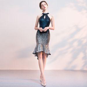 Sexy Marineblau Pailletten Partykleider 2018 Neckholder Ärmellos Asymmetrisch Rüschen Rückenfreies Festliche Kleider